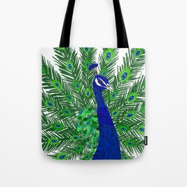 Peacock Collage Tote Bag