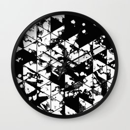 Splatter Triangles - Black and white, abstract, paint splat, triangular pattern Wall Clock