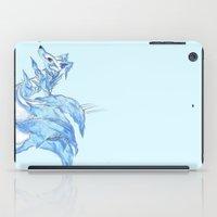 kitsune iPad Cases featuring Ice Kitsune by KristenOKeefeArt