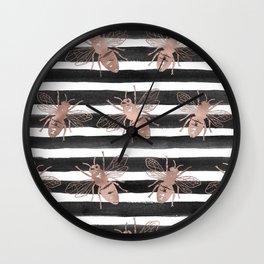 Rose gold bee noir Wall Clock