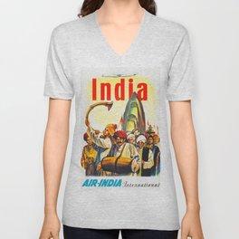 Air-India International - Vintage Airline Poster Unisex V-Neck