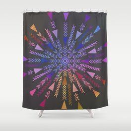 Multicolored geometric firework Shower Curtain