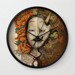 noh yin and yang Wall Clock