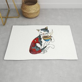 Cat Drinking Coffee With Fish Tattoo - Cat & Coffee Lovers gift idea Rug
