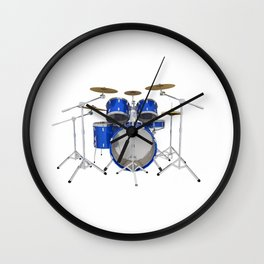 Blue Drum Kit Wall Clock