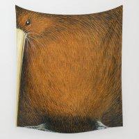 kiwi Wall Tapestries featuring Kiwi by Squishy Squashy Birds