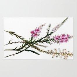 Vintage Wildflowers Pink Star Flowers Rug
