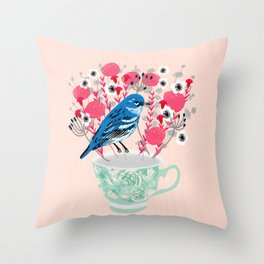 Bird on a Teacup by Andrea Lauren  Throw Pillow