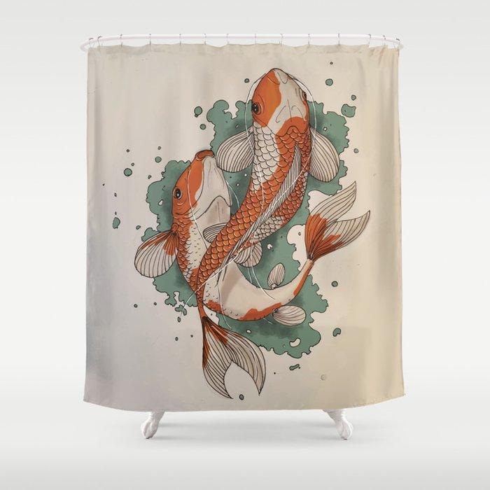 Koi Shower Curtain By Norbertgarab