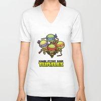 ninja turtles V-neck T-shirts featuring Kawaii Mutant Ninja Turtles by Squid&Pig