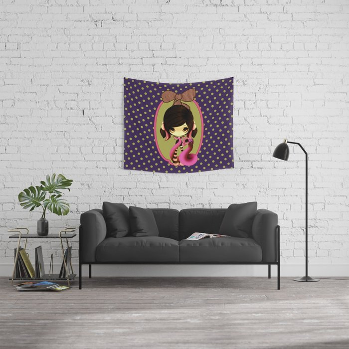 Pink & Green Goth Dragoness Wall Tapestry
