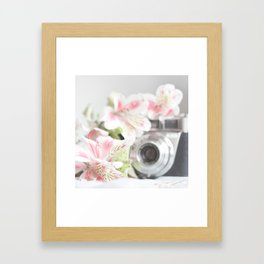 Pink flower and bokeh camera in the morning (Still Life Photography)  Framed Art Print
