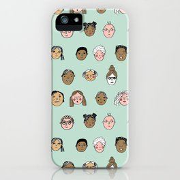 Faces people illustration hand drawn different people all shapes and sizes pattern iPhone Case