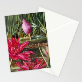 Red Water Lilies & Summer Dragonflies still life painting Stationery Cards