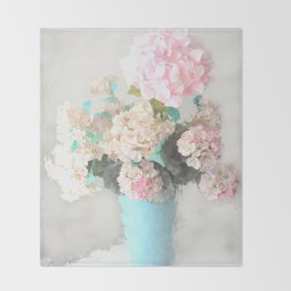 Shabby Chic Hydrangea Flowers Pink White Aqua Blue Throw Blanket