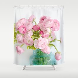 Dreamy Shabby Chic Ranunculus Peonies Roses Print - Spring Summer Garden Flowers Mason Jar Shower Curtain