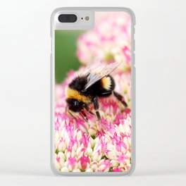 pink flowers and bee Clear iPhone Case