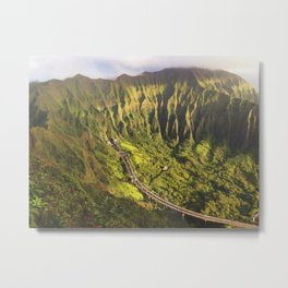 Morning Ko'olau and H3 view  Metal Print