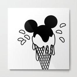 B&W Mickey Icecream Splash Pattern Metal Print