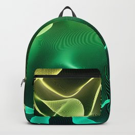 Elegant Abstract Waves 2 -Turquoise Green and Yellow- Backpack