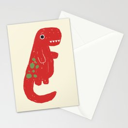 Cute Red T-rex Dinosaur Stationery Cards