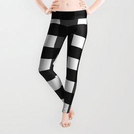 Contemporary Black & White Gingham Pattern Leggings