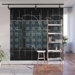 Black Green Grey Digital Daisy Abstract Wall Mural