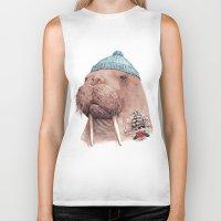 walrus Biker Tanks featuring Tattooed Walrus by Animal Crew
