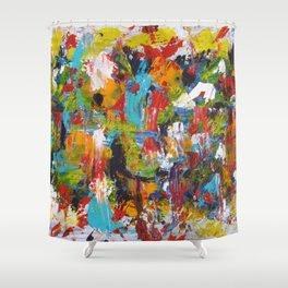 """The Abstract Mediterranean"" Acrylic Painting by Noora Elkoussy Shower Curtain"