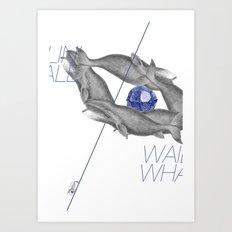 Wailin' Whale Vintage Design Art Print