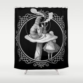 Alice and the Smoking Caterpillar - Alice in Wonderland Shower Curtain