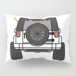 Jeep Wave Back View - White Jeep Pillow Sham