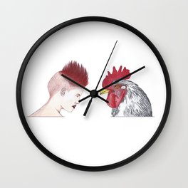 mohawk rooster Wall Clock