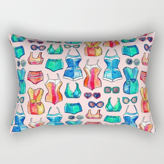 Sixties Swimsuits and Sunnies on blush pink Rectangular Pillow