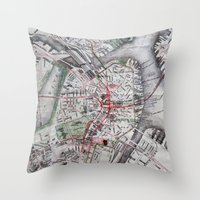 boston map Throw Pillows featuring Boston Old Map Photography by Eyne Photography