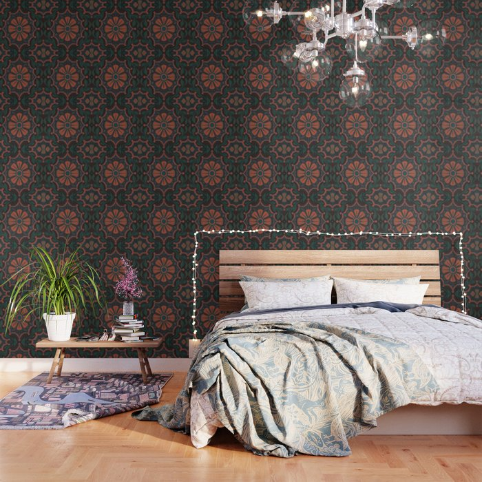 Folk Flower, Vintage Bohemian Floral Pattern Wallpaper