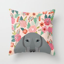 Dachshund pet portrait custom dog art by pet friendly grey dachsie doxie gifts Throw Pillow