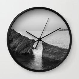 Serenity Sea. BW square. At Sunrise Morning Wall Clock
