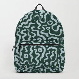 Abstract Swirls Pattern Green Blue Brush Strokes Print Backpack