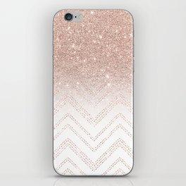 Modern faux rose gold glitter ombre modern chevron stitches pattern iPhone Skin