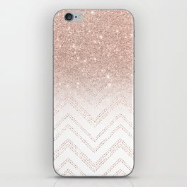 Modern faux rose gold glitter ombre modern chevron stitches pattern iPhone Skin
