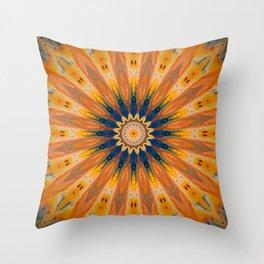 Vibrant Detailed Golden Mandala Design Throw Pillow