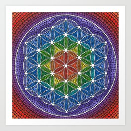 Rainbow Happy Flower of Life Art Print