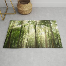 Sun Rays Through Treetops Inspirational Landscape Photo Rug