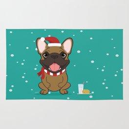 French Bulldog Waiting for Santa - Fawn edition Rug