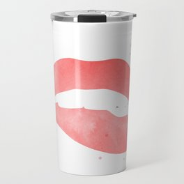 red biting lip Travel Mug