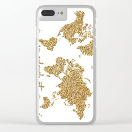 world map gold wanderlust Clear iPhone Case
