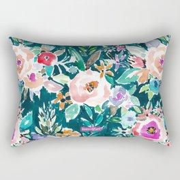 EFFUSIVE FLORAL Dark & Colorful Boho Pattern Rectangular Pillow