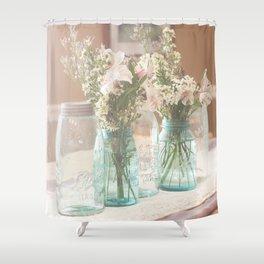 Vinage Mason Jar Photograph Shower Curtain