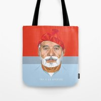 bill murray Tote Bags featuring BILL MURRAY by Joemetric